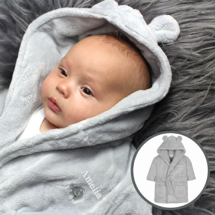 Grey Bear Ears Hooded Baby Dressing Gown (Personalise me